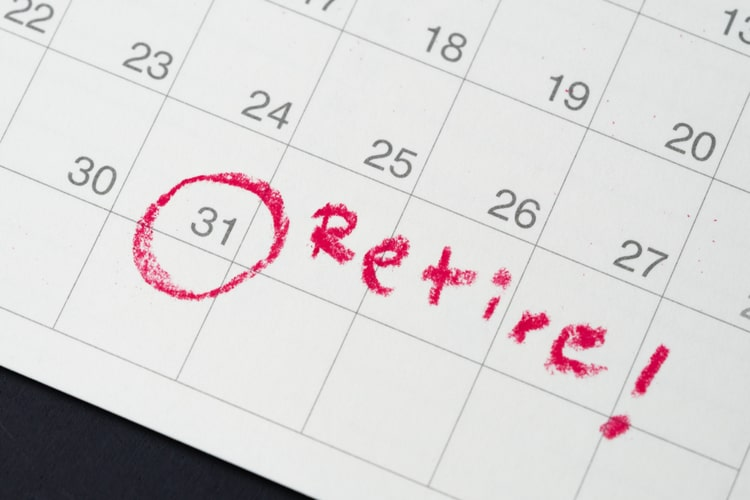 """Calendar with a date circled in red and a note reading """"Retire!"""""""
