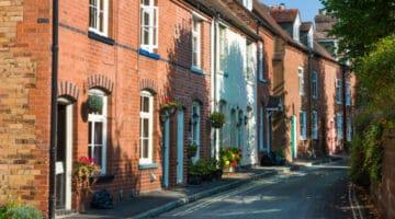 Street of traditional terrace houses in Bridgenorth, Shropshire