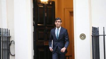 British chancellor, Rishi Sunak, leaving 11 Downing Street